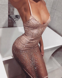 Wholesale Transparent Mini Dresses - Summer Deep V Sexy Dress Transparent Sling Nightclub Dresses For Women