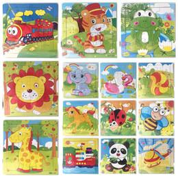 2019 montessori giocattoli anno vecchio 16 pezzi di legno puzzle asilo bambino giocattoli bambini animali legno 3d puzzle bambini building blocks divertente gioco giocattoli educativi AAA1259