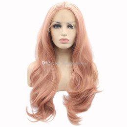 Pfirsichperücken online-Mode Soft Orange Pink Lace Perücke Pastell Peach Pink Perücken Lange Schweizer Lace Natural Body Wellenförmige Synthetische Lace Front Perücken Hitzebeständiges Haar