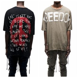 Wholesale Oversize Tshirt - World Peace t-shirts Men Fashion Kanye West Fear of God Tops tshirt Justin Bieber Oversize Tees Freedon Hip Hop Loose T Shirt