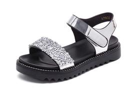 Девушки Сандалии 2018 Новый Корейский Летняя Мода Студент Девушки Большой Мальчик Горный Хрусталь Обувь Дети Принцесса Обувь от