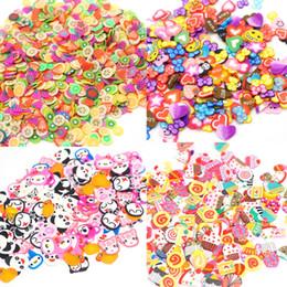 Fleurs en pâte polymère en Ligne-Mtssii Nail Art 3D Fruit Mix Mélange Designs Minuscule Crème Douce Fruit Animal Amour Tranche Polymer Clay DIY Beauté Nail Stickers