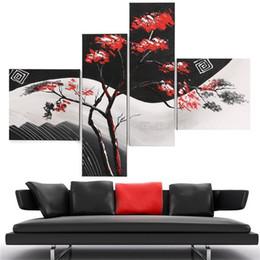pittura nera rossa fatta a mano Sconti Unframed 4Panel Red Leaves Tree Nero Bianco Pop Art 100% Handmade pittura a olio astratta su tela parete immagine Home Decor