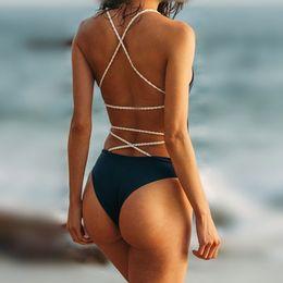 Vêtements de corde sexy en Ligne-Femmes dos nu été tressé corde femmes Bikini maillot de bain Monokini taille basse Sexy maillot de bain solide vêtements de natation LJJD3
