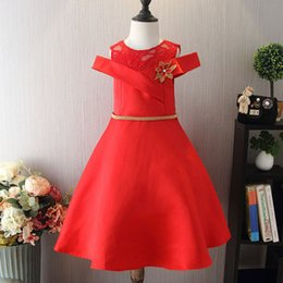 Wholesale Cold Dresses - Baby Girl Princess Birthday Party Dress for Girls 2018 Summer Kids Cold Shoulder Princess Dresses for Toddler Girl Children