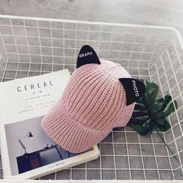 Hat For Women Wool Knitted Cat Ears Hats cute Fur Pompom Caps Female Bonnet  Femme 4d9b1ddc9c04