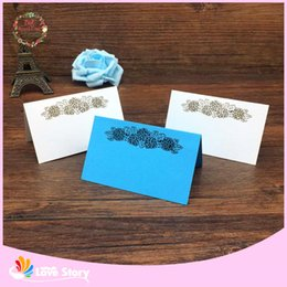 Wholesale Flower Places - BHL 40pcs Laser Cut Flower Wedding Table Place Card Name Card Wedding Party Table Decoration Laser Crafts Event Party Supplies