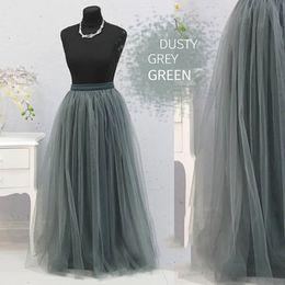 Линии фотографии онлайн-New Dusty Gray Green Long Tulle Skirts Women Custom Made Zipper A-line Bridesmaid Tulle Skirt For Photography Female Skirt