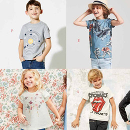 wholesale kids t shirts free shipping Coupons - 16 styles NEW Boys girl Kids 100%Cotton Short Sleeve cartoon Flower Shark print T shirt boys girl causal summer t shirt 4-10T Free Ship