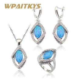 e99466ec0 whole saleMarquise Australia Blue Opal White Stones Silver Color Jewelry  Sets For Women Christmas Necklace Pendant Earrings Rings Gift Box