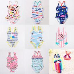 Wholesale striped baby - 27 Designs Toddler Swimwear Baby Girls Bathing Suits Unicorn Flamingo Dinosaur Watermelon Flora Rainbow Striped Printed Costumi da Bagno