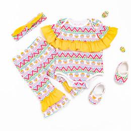 Wholesale Girls European Shoes - Kids Clothing Set Baby Rompers Short Sleeve Cotton Multicolor Eggs Easter Clothing Sets Infant Ruffle Jumpsuit + Pant +Shoes+Headband 4Pcs