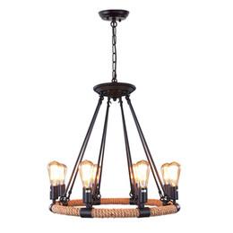 Canada Vintage corde rustique lustres 8 lumière pendentif lustre edison ampoule lumière loft rétro industrielle lampe pour cuisine chambre cheap rustic bedroom pendant light Offre