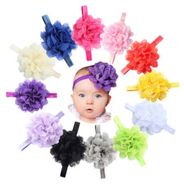 ship sticks girl Promo Codes - Fashion Multi-color Children Headbands Hair Sticks Elastic 18 cm Net Lace Chiffon Flower Hair Accessories For Infant Girls Free Shipping