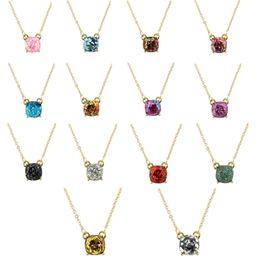 Fashion 14Colors Square Glitter Mixed Color Stars Pendant Short Necklace