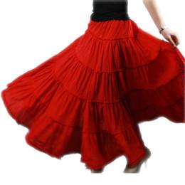 Jupes blanches en Ligne-été 5 couches couture gitane bohème BOHO cercle complet coton maxi jupe danse Espagne plissé longues jupes pour femmes rouge noir blanc