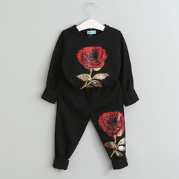 Wholesale Family Sweatshirts - Mother Daughter Outfits Family Matching Sportswear Mother And Daughter Set Rose Floral Embroidered Sequin sets Sweatshirt + Pants 2 Pcs Suit