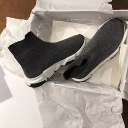 Wholesale Black Knit Boots - New Designer Shine Stretch-Knit Speed Trainer Casual Shoe Man Woman Cheap Sneaker High Top Casual Boots Red Mix Black Bottom Size 35-46