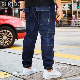Pantaloni di jersey baggy online-Jeans in jersey jeans larghi con allacciatura elastica in vita elastica in nuovo blu da uomo Plus Size 30-46