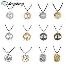 Ожерелье из талисмана онлайн-dongsheng 12 style Nordic Vikings Runes Amulet Pendant Necklace The Tree of Life Runes PENDANT Necklace Nordic Talisman -30