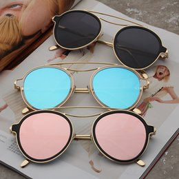 Wholesale Glass Mesh - Raydtun Round Eye Sunglasses Women Vintage Mesh Metal Frame Driving Sun Glasses Female Colorful Ladies Shades With Case 8552