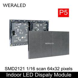 Wholesale P5 Led Display - WERALED Hot Sale 64x32 Pixels 320x160mm Black LED Lamp P5 Indoor SMD2121 Full Color LED Module , 1 16 Scan P5 Display Panel