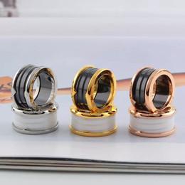 2018 Anneaux en or rose et femelle titane acier arc Anneaux en céramique noir et blanc bague 18 K large Edition ? partir de fabricateur