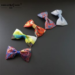 Wholesale wholesale women bowties - Children Colorful Bow Ties Oil Painting Printing Cartoon Tie Polyester Silk Adjustable Wedding Party Bowties Accessories 8 8wj jj
