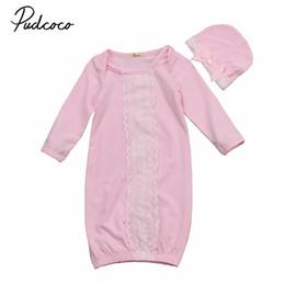 Wholesale girls pink sleepwear - Pudcoco 2Pcs Cute Sleeping Bag Infant Baby Girls Swaddle Soft Warm Blanket Girls Sleeping Bag Sleepwear Pink Bowknot Hat