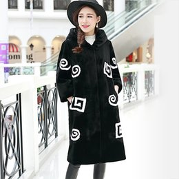 Wholesale Button Sheep - Fall winter faux Fur coat long design female with a hood patchwork color block slim all-match sheep shearing fur costs black
