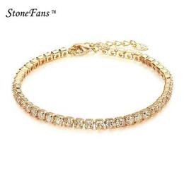 Canada StoneFans CZ Cristal Tennis Bracelet Zircon Bracelet Bracelet Chaînes Cristal Or Strand Bracelets Pour Femmes Bijoux Femme Offre