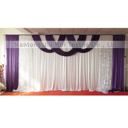 Wholesale hot fix designs - New Design Hot Sale 3mx6m Ice Silk & Silver Sequin Swags Drapes Wedding Backdrop Curtain 1PCS With Free Shipping Price
