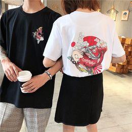 2018 camisas de bordado koi de verano para hombre camiseta a rayas camiseta para hombre ropa de tendencia en forma de manga corta camiseta superior ocasional desde fabricantes