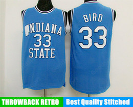 Sports d'oiseaux en Ligne-Chaud Indiana State College NCAA cousu 33 Larry Bird cousu broderie Swingman Jerseys Shirts Jersey Shirts bon marché Sport Basketball Retro US Top