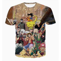 2019 t-shirt anime Nuovi personaggi Uomini Donne Giappone Anime Collezione 3d magliette di Naruto One Piece Z magliette divertenti Uomini Tees Cartoon t-shirt anime economici