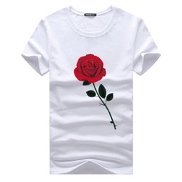 Wholesale rising clothing - Rose Printed T shirts Summer Top Shirt Crew Neck Short Sleeves 5XL Men New Fashion Clothing Cotton Tops Male Casual Tees