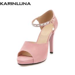 bcbade8acf Venda Por Atacado melhor qualidade grande tamanho 33-43 rhinestone peep toe  sandálias de verão sapatos de salto alto mulheres senhora do escritório  partido ...