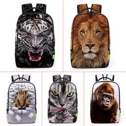 Wholesale Travel Back Bags For Men - Wholesale 3D Animal Lion   Leopard Prints Back Men Women Sports Waterproof Mochilas Students School Bag For Girls Boys Travel Backpack