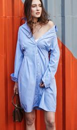Canada interview vêtements habillées American Wind chemises à manches longues Slim Fit chemisiers femmes fashion Chemises rayées jupe robes poche Offre