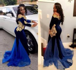 Wholesale Dress Blue Velvet Girl - 2018 Black Girls Off The Shoulder Velvet Mermaid Long Prom Dresses Long Sleeves Gold Lace Applique Organza Formal Party Evening Gowns