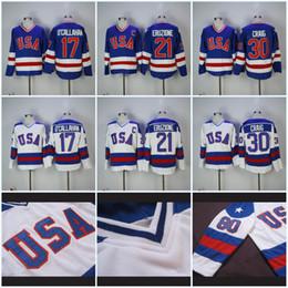 camisetas olímpicas de estados unidos Rebajas Mens 1980 Olympic Team EE.UU. Hockey Jerseys 17 Jack O'Callahan 30 Jim Craig 21 Mike Eruzione EE.UU. Miracle On Alternate Year Hockey Jersey