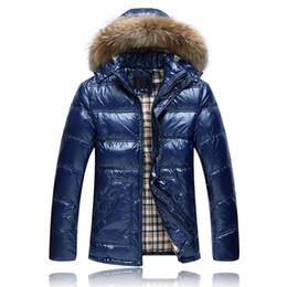 Wholesale United Hat - 2018 Men's Large Fur Collar Long Down Jacket Europe and the United States Hooded Luster Down Jacket Thick Coat