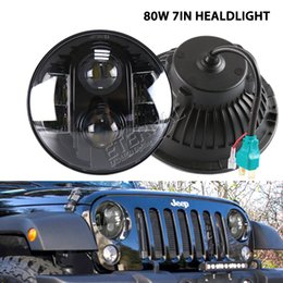 Wholesale Led Headlight For Car Motorcycle - 80W 7inch Jeep LED headlight offroad headlamp for car 4x4 offroad motorcycle Harley Jeep Wrangler JK LJ CJ TJ H4 H13 LED headlight kit