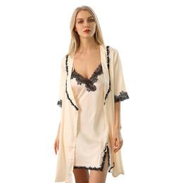 Argentina Pijama de encaje de manga de nueve puntos de seda de camisón sexy Europa y América falda de liga de seda de nuevo uso de casa de verano Suministro