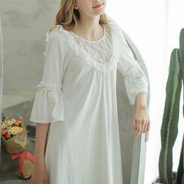 908b330bdc Autumn White Sexy Long Sleep Lounge Cotton Sleepwear Female Home Dress Lace  Princess Vintage Nightgown Women Sleeping Dress  L17