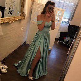 Wholesale Navy Empire Party Dress - New Long Sexy Split Side Prom Dresses 2018 Off The Shoulder A Line Satin Party Evening Gowns Dress 99