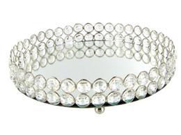 Kristallschalen online-Spiegel Bling Bling Kristallperlen Klarer Kristall Rundes Waschtisch-Tablett in Silber