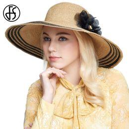 ccb433c1f4f FS Straw Hat For Women Large Brim Beach Hat Fashion Stripe Sun Hats Elegant Floral  Caps Casual Gorras Cappello Donna Casquette