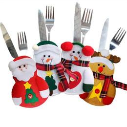 rifornimenti di decorazioni natalizie dell'hotel Sconti Articoli natalizi Natale Pupazzo di neve Coltelli e forchette Manicotto Hotel Bar Decorazione del tavolo Set da tavola di Natale Accessori T7I093