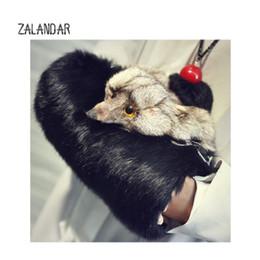Wholesale Fox Messenger Bags - Rabbit Fur bag Women Winter Shoulder Bag Real Fur Handbag Women Messenger Shoulder fox head Tote Warm hands